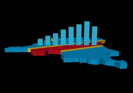 democratic republic of the congo: graph on Democratic Republic Congo map flag illustration Stock Photo