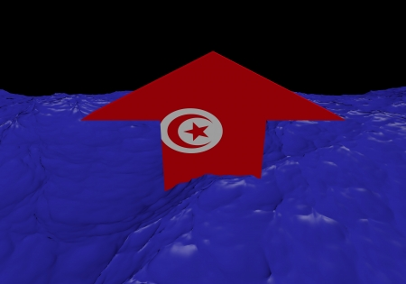tunisia: Tunisia flag arrow in abstract ocean illustration