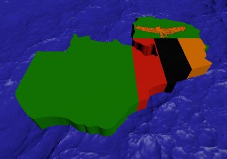 zambian: Zambia map flag in abstract ocean illustration Stock Photo