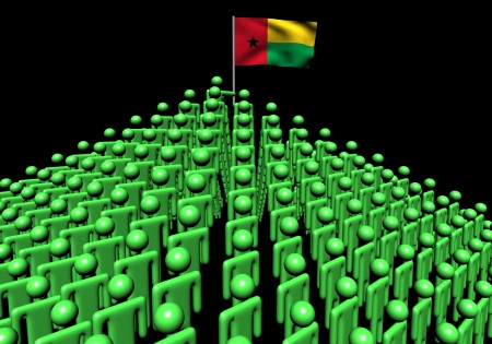 bissau: Pyramid of abstract people with Guinea Bissau flag illustration