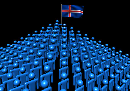 ic: Pyramid of abstract people with Iceland flag illustration