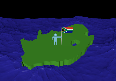 Man on South Africa map with flag in ocean illustration illustration