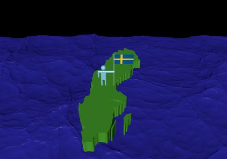 Man on Sweden map with flag in ocean illustration Stock Illustration - 23046959