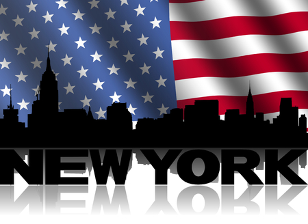 New York skyline and text reflected with rippled American flag illustration illustration