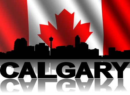 calgary: Calgary skyline and text reflected with rippled Canadian flag illustration