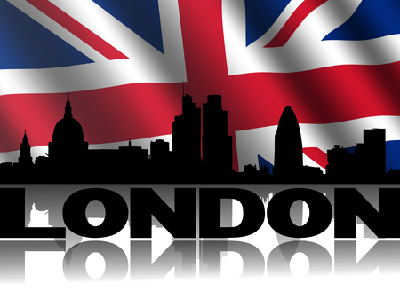 st pauls: London skyline and text reflected with rippled British flag illustration