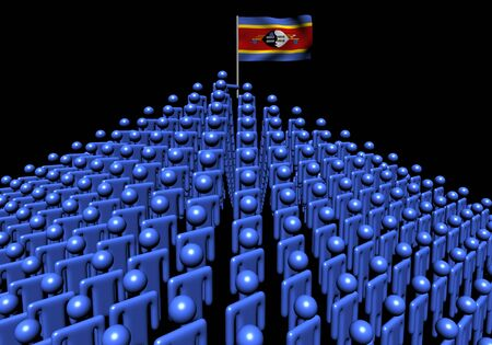 swaziland: Pyramid of abstract people with Swaziland flag illustration
