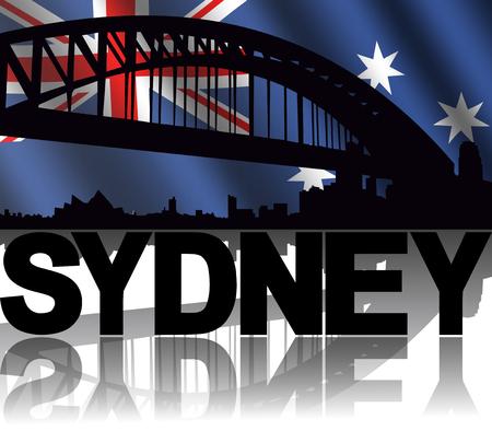 sydney skyline: Sydney skyline and text reflected with rippled Australian flag illustration Stock Photo