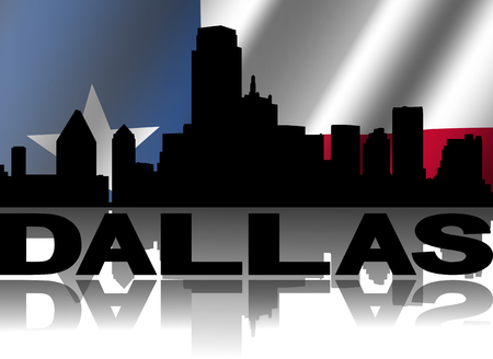 Dallas skyline and text reflected with rippled Texan flag illustration illustration