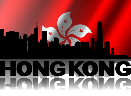hong kong skyline: Hong Kong skyline and text reflected with rippled flag illustration