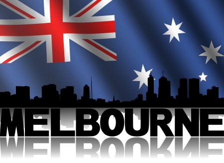 Melbourne skyline and text reflected with rippled Australian flag illustration illustration