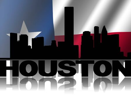 texan: Houston skyline and text reflected with rippled Texan flag illustration Stock Photo