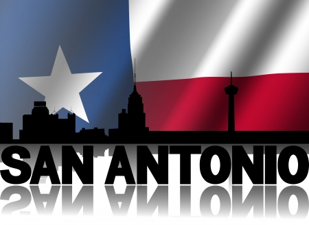 San Antonio skyline and text reflected with rippled Texan flag illustration illustration