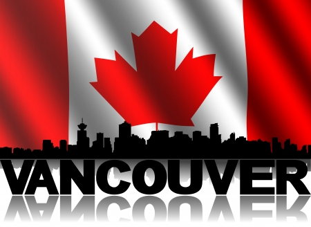 canadian flag: Vancouver skyline and text reflected with rippled Canadian flag illustration