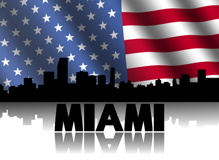 Miami skyline and text reflected with rippled American flag illustration illustration