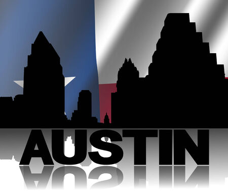 texan: Austin skyline and text reflected with rippled Texan flag illustration