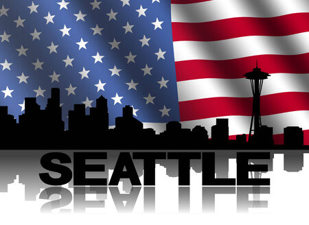 seattle skyline: Seattle skyline and text reflected with rippled American flag illustration