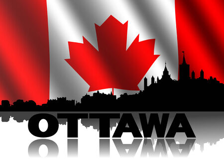 Ottawa skyline and text reflected with rippled Canadian flag illustration illustration
