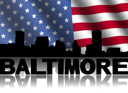 Baltimore skyline and text reflected with rippled American flag illustration illustration