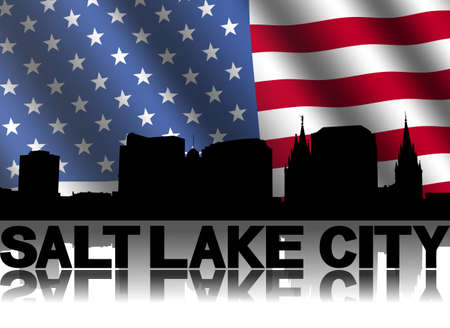 Salt Lake City skyline and text reflected with rippled American flag illustration illustration