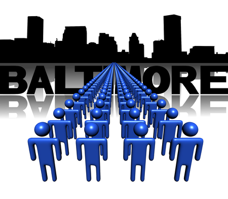 baltimore: Lines of people with Baltimore skyline illustration