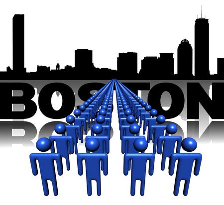 boston skyline: Lines of people with Boston skyline illustration Stock Photo