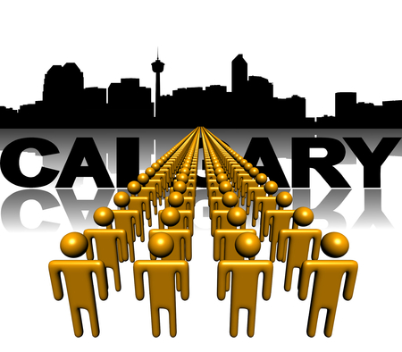 Lines of people with Calgary skyline illustration illustration