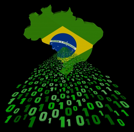 Brazil map flag with green binary code foreground illustration illustration