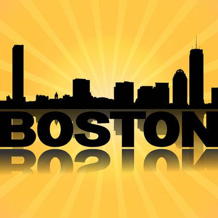 boston skyline: Boston skyline reflected with sunburst illustration
