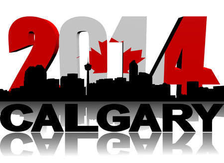 calgary: Calgary skyline with 2014 Canadian flag text illustration