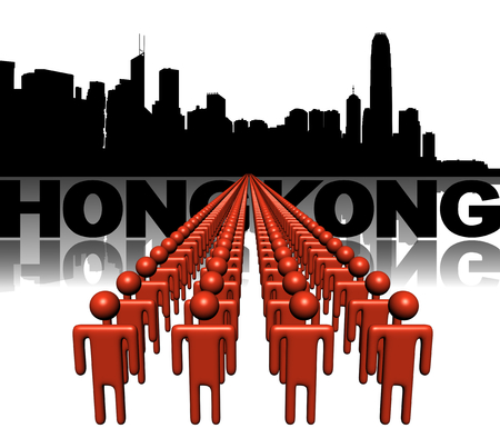 Lines of people with Hong Kong skyline illustration illustration