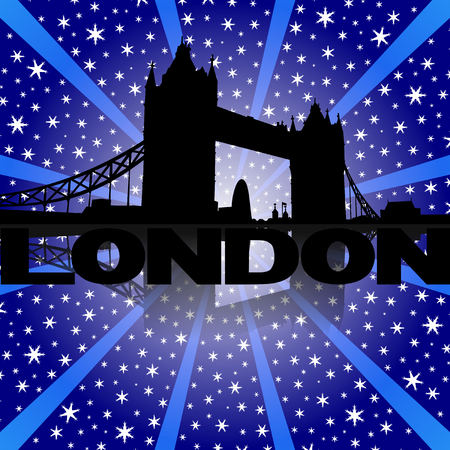 Tower Bridge London skyline reflected with snow burst illustration illustration