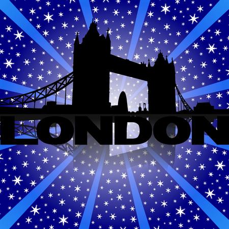 london tower bridge: Tower Bridge London skyline reflected with snow burst illustration