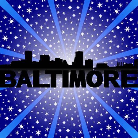 baltimore: Baltimore skyline reflected with snow burst illustration Stock Photo