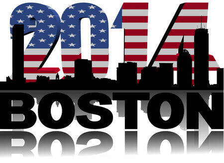Boston skyline with 2014 American flag text illustration illustration