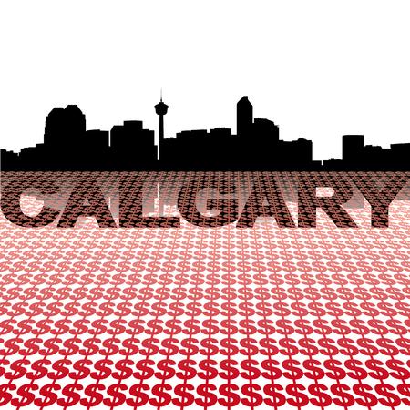 calgary: Calgary skyline reflected with dollar symbols illustration