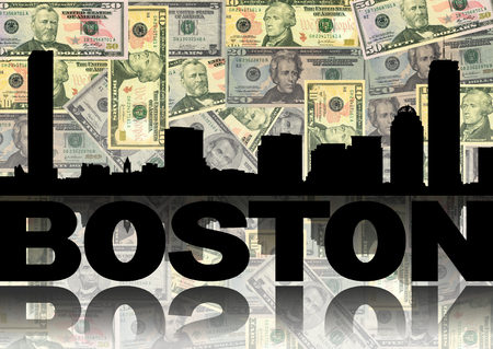 Boston skyline reflected with dollars illustration illustration