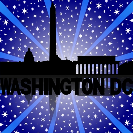 Washington DC skyline reflected with snow burst illustration illustration