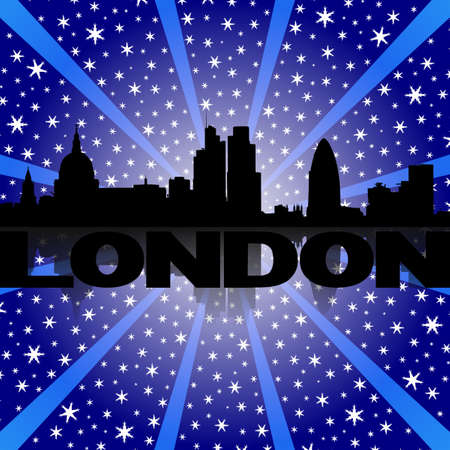 London skyline reflected with snow burst illustration illustration