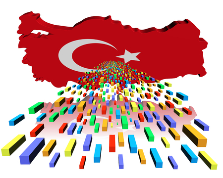 reflected: Turkey map flag reflected with containers illustration