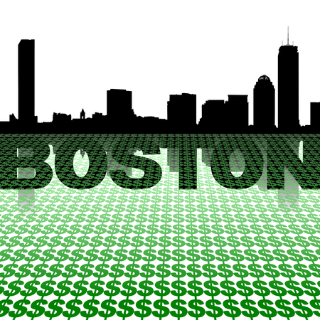Boston skyline reflected with dollar symbols illustration illustration