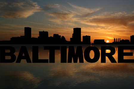 baltimore: Baltimore skyline reflected with text and sunset illustration