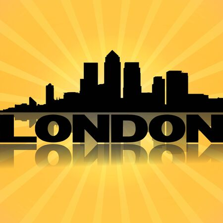 London docklands skyline reflected with sunburst illustration illustration