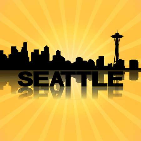 seattle skyline: Seattle skyline reflected with sunburst illustration Stock Photo