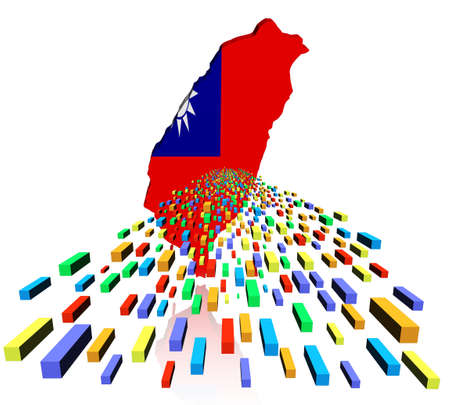 taiwanese: Taiwan map flag reflected with containers illustration