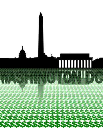 Washington DC skyline reflected with dollar symbols illustration illustration