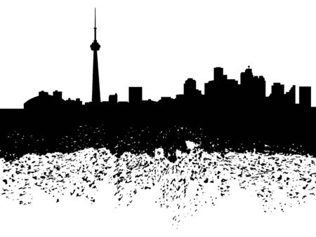 toronto: Toronto skyline grunge silhouette illustration