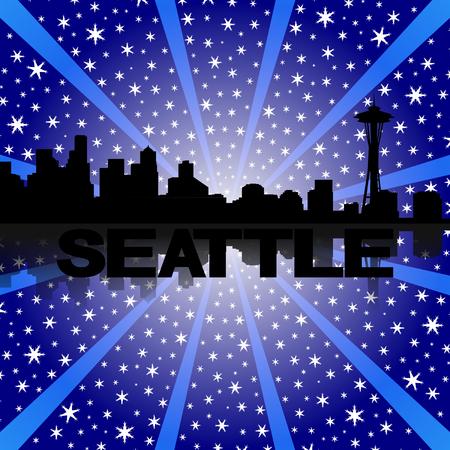 seattle skyline: Seattle skyline reflected with snow burst illustration Stock Photo