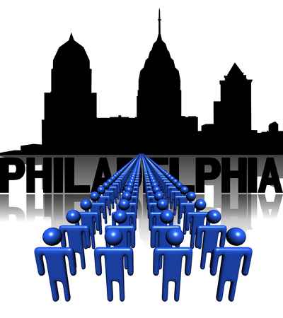 multitude: Lines of people with Philadelphia skyline illustration Stock Photo