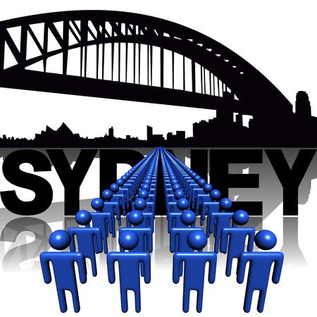 sydney skyline: Lines of people with Sydney skyline illustration Stock Photo